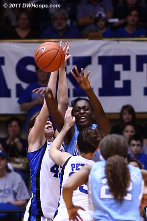 Vernerey and Rolle battle on the Heels' offensive boards  - Duke Tags: #43 Allison Vernerey