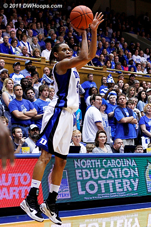 Jasmine Thomas scored a game high 17 points to lead Duke to victory - here she hits a corner trey for a 56-42 Blue Devil lead.  - Duke Tags: #5 Jasmine Thomas