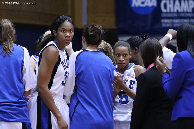 Serious seniors in the pregame huddle  - Duke Tags: #5 Jasmine Thomas, #34 Krystal Thomas