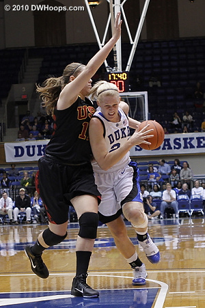 Kathleen Scheer tries to drive around USC's Cassie Harberts  - Duke Tags: #24 Kathleen Scheer