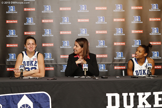 Haley Peters, Coach P, and Jasmine Thomas in the media room  - Duke Tags: #5 Jasmine Thomas, #33 Haley Peters, Joanne P. McCallie