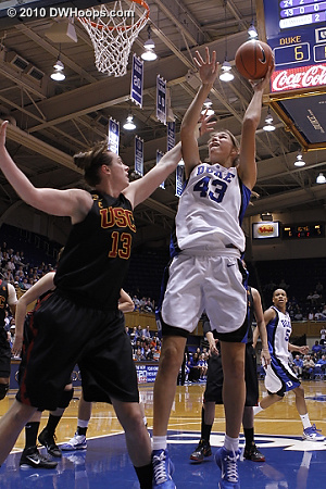 Allison Vernerey scores and is fouled by Kari Laplante.  - Duke Tags: #43 Allison Vernerey