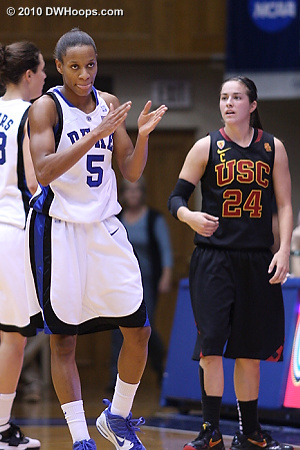 Jasmine happy after forcing a turnover.  - Duke Tags: #5 Jasmine Thomas