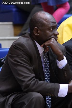 USC Head Coach Michael Cooper on the bench as his Women of Troy fall further behind.