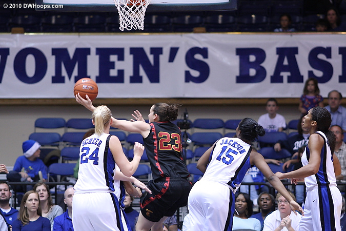 Against Duke's defense the Women of Troy were often reduced to taking shots with a high degree of difficulty.