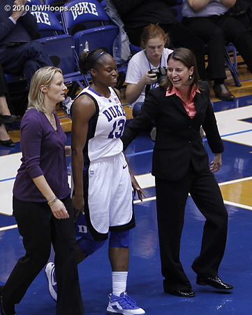 Coach P is glad that Karima Christmas wasn't really hurt after drawing a charge.  - Duke Tags: Joanne P. McCallie