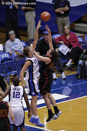 Allison Vernerey was active on defense though Gemelos scored over her here.  - Duke Tags: #43 Allison Vernerey