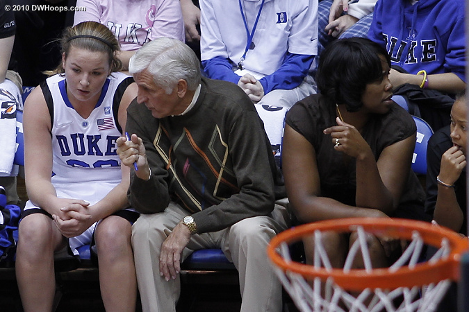On the Duke bench  - Duke Tags: #3 Shay Selby, #32 Tricia Liston, Trisha Stafford-Odom, Al Brown