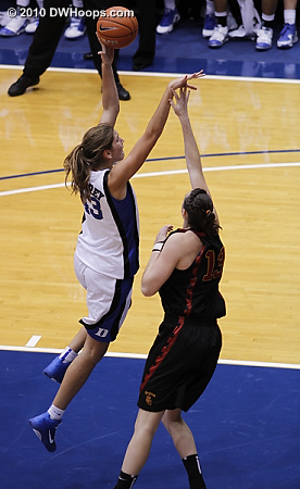Allison Vernerey finishes a lefty hook.  - Duke Tags: #43 Allison Vernerey