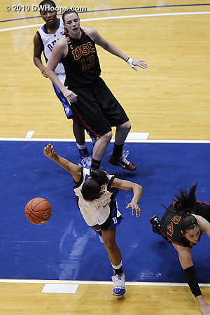 Corral (right) falls to the floor after fouling Chloe Wells  - Duke Tags: #4 Chloe Wells