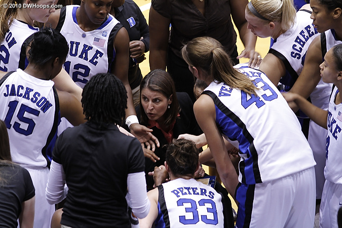 The Duke huddle  - Duke Tags: Joanne P. McCallie