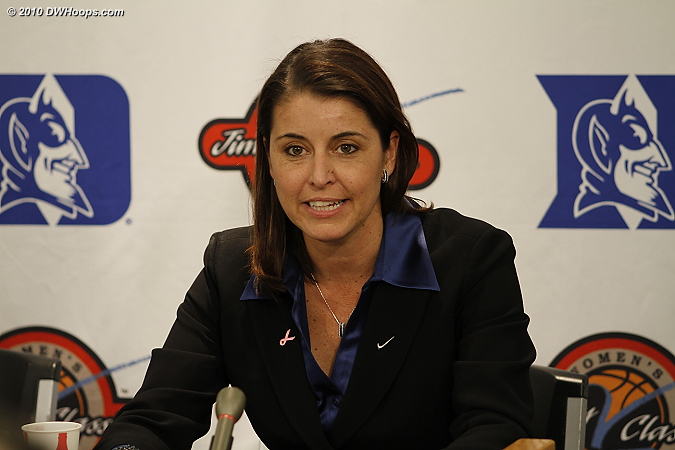 Coach P in the Media Room with Duke's first victory over Texas A&M in four tries.  - Duke Tags: Joanne P. McCallie