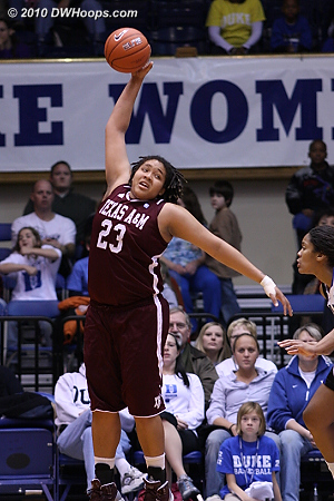 Danielle Adams goes up high to gather in a pass