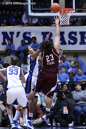 Adams forced her way between Peters and K.Thomas for the layup.