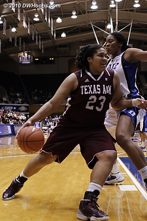 Danielle Adams drives on Krystal Thomas  - Duke Tags: #34 Krystal Thomas