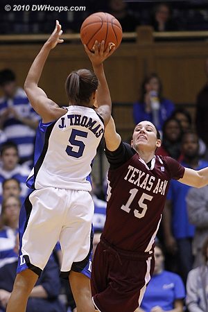 Jasmine Thomas finally got going after a slow start, scoring five in the last five minutes of the first half.  - Duke Tags: #5 Jasmine Thomas