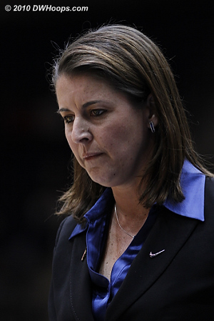 A somber Joanne P. McCallie leaves the court with Duke up 28-27 at halftime.  - Duke Tags: Joanne P. McCallie