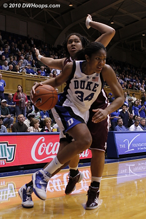 Krystal Thomas came out of the locker room to score on a baseline drive  - Duke Tags: #34 Krystal Thomas