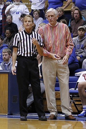 Referee Dee Kantner (talking to Al Brown) was a late replacement for Dennis DeMayo - both are among the nation's top women's basketball officials.  - Duke Tags: Al Brown