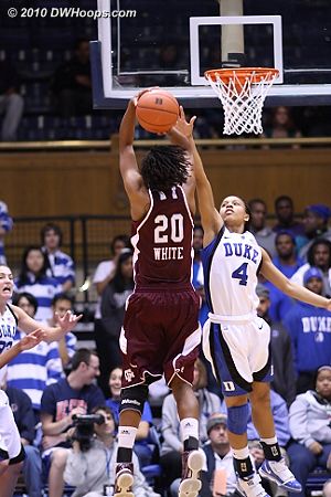 Chloe Wells is whistled for fouling Tyra White, who would miss both.  - Duke Tags: #4 Chloe Wells