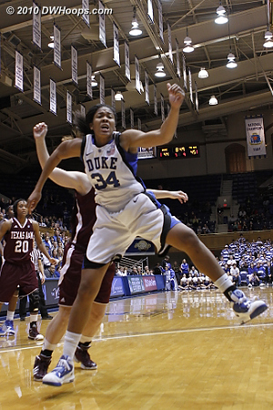 Krystal Thomas is fouled by Kelsey Assarian (obscured), giving Duke the chance to take their first lead in over eight minutes.  - Duke Tags: #34 Krystal Thomas