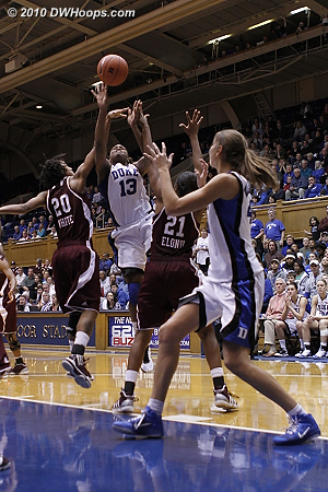 Karima Christmas fouled by Tyra White, the freebies put Duke back in the lead.  - Duke Tags: #13 Karima Christmas