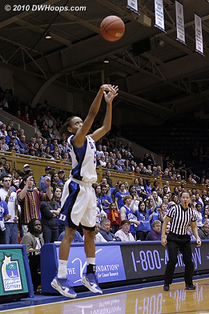 Jasmine Thomas answers with a big three of her own.  - Duke Tags: #5 Jasmine Thomas