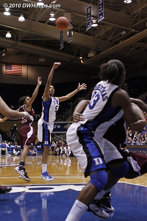 With the shot clock running down, senior Jasmine Thomas hits the shot that proved to be the game winner for Duke.