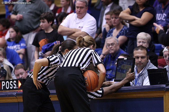Maj Forsberg (left) and Dee Kantner consult the TV monitor to be sure that Jasmine Thomas' shot beat the shot clock.