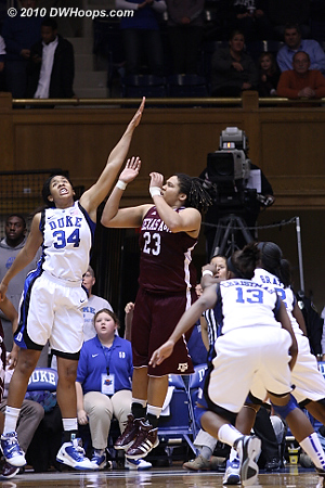 The frantic last moments of the Texas A&M possession resulted in an airball three by Sydney Colson as the shot clock expired.