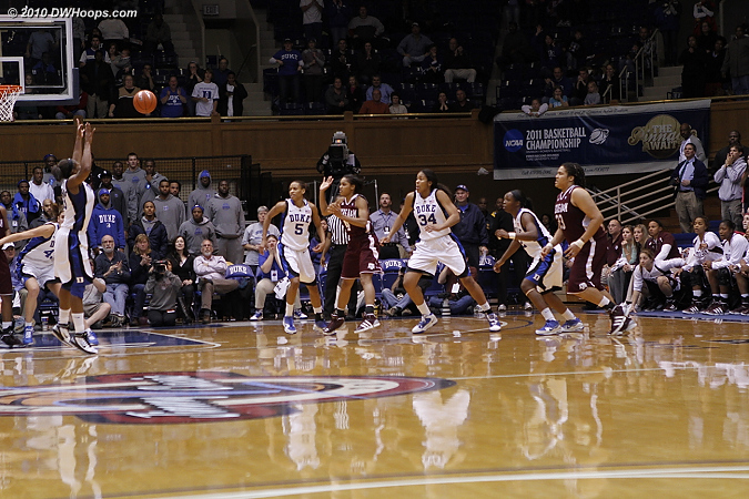 A Duke turnover gave A&M one last chance down three, but Karima Christmas stepped into the passing lane to prevent the Aggies from getting a last shot.  Duke wins!
