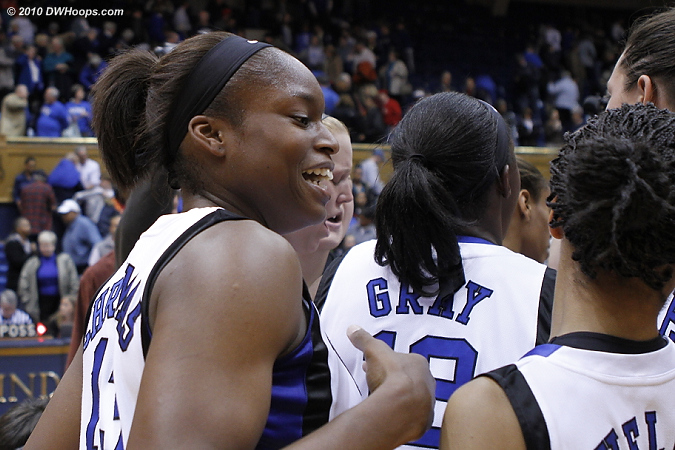 Karima as the Duke victory huddle breaks.  - Duke Tags: #13 Karima Christmas