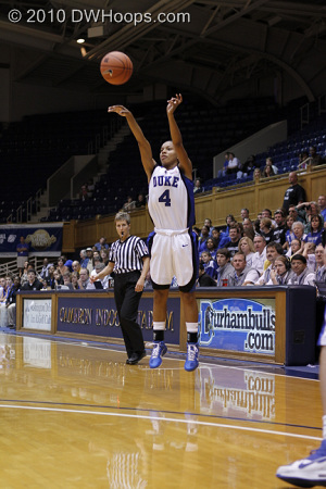 Freshman Chloe Wells launches a shot from behind the arc, though White was only down by one.