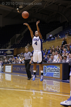 Freshman Chloe Wells launches a shot from behind the arc.