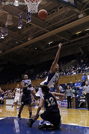 Krystal draws the foul after going coast-to-coast  - Duke Tags: #34 Krystal Thomas