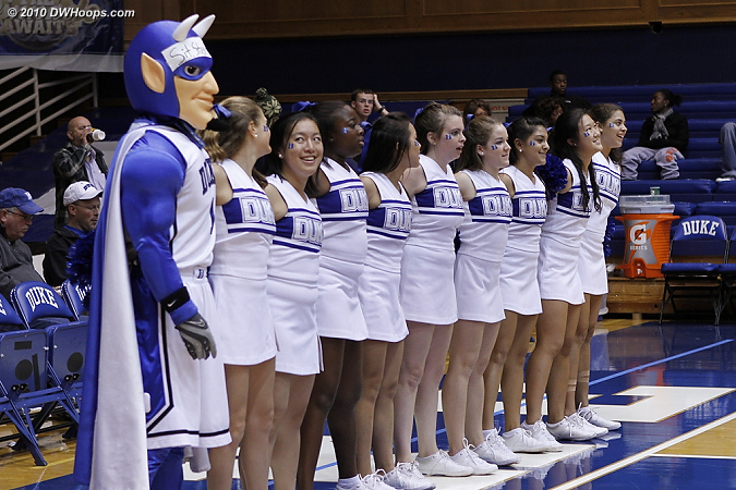 A happy line after the win  - Duke Tags: Duke Cheerleaders, Duke Blue Devil Mascot
