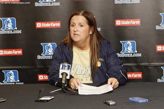 Wingate Head Coach Barbara Nelson in the media room: