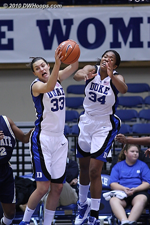 Haley Peters rips down a rebound  - Duke Tags: #33 Haley Peters, #34 Krystal Thomas