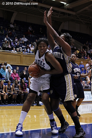 Krystal Thomas bulls her way into the paint  - Duke Tags: #34 Krystal Thomas