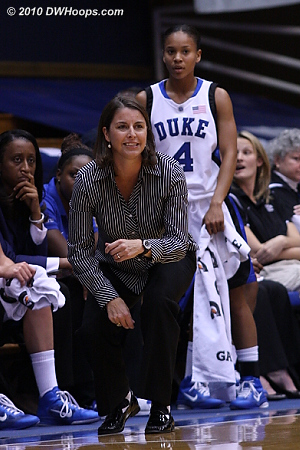 Coach Joanne P. McCallie on the Duke bench  - Duke Tags: Joanne P. McCallie