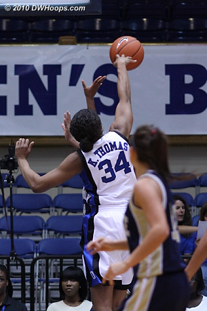 Thomas started things off by blocking Wingate's first two shots.  - Duke Tags: #34 Krystal Thomas