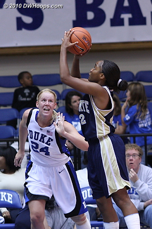 Intense defense from Kathleen  - Duke Tags: #24 Kathleen Scheer