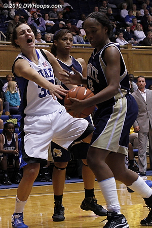 Haley Peters expresses her frustration after being stripped by Wingate's Shey Brown  - Duke Tags: #33 Haley Peters