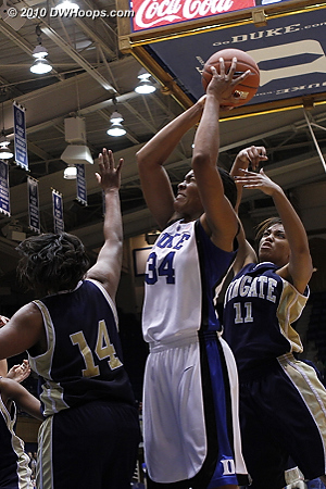 Krystal grabs a tough board and is hacked -- she had 22 rebounds tonight.  - Duke Tags: #34 Krystal Thomas