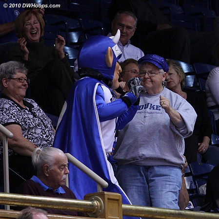 Fun times in the upper deck  - Duke Tags: Fans, Duke Blue Devil Mascot