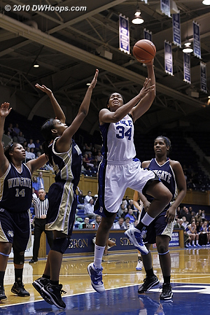 Krystal Thomas with a nice move in the paint  - Duke Tags: #34 Krystal Thomas