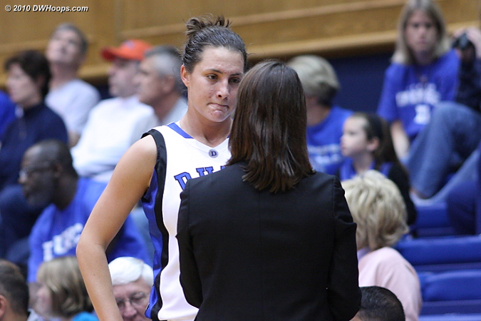 Coach P with some guidance for Haley Peters  - Duke Tags: #33 Haley Peters, Joanne P. McCallie