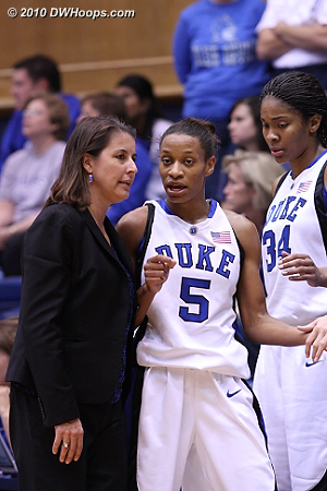 An interesting convo as Jas comes off the floor.  - Duke Tags: #5 Jasmine Thomas, Joanne P. McCallie