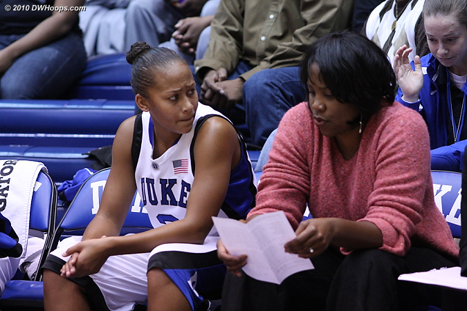 A concerned Shay Selby on the bench with assistant Stafford-Odom  - Duke Tags: #3 Shay Selby, Trisha Stafford-Odom