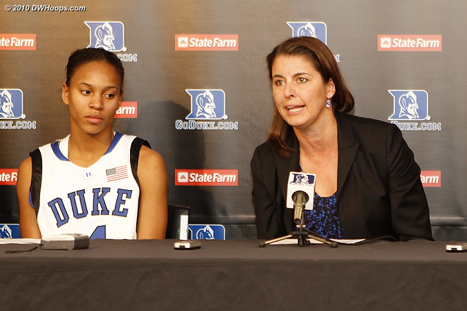 Coach P answers one of Rob Clough's questions.  - Duke Tags: #4 Chloe Wells, Joanne P. McCallie